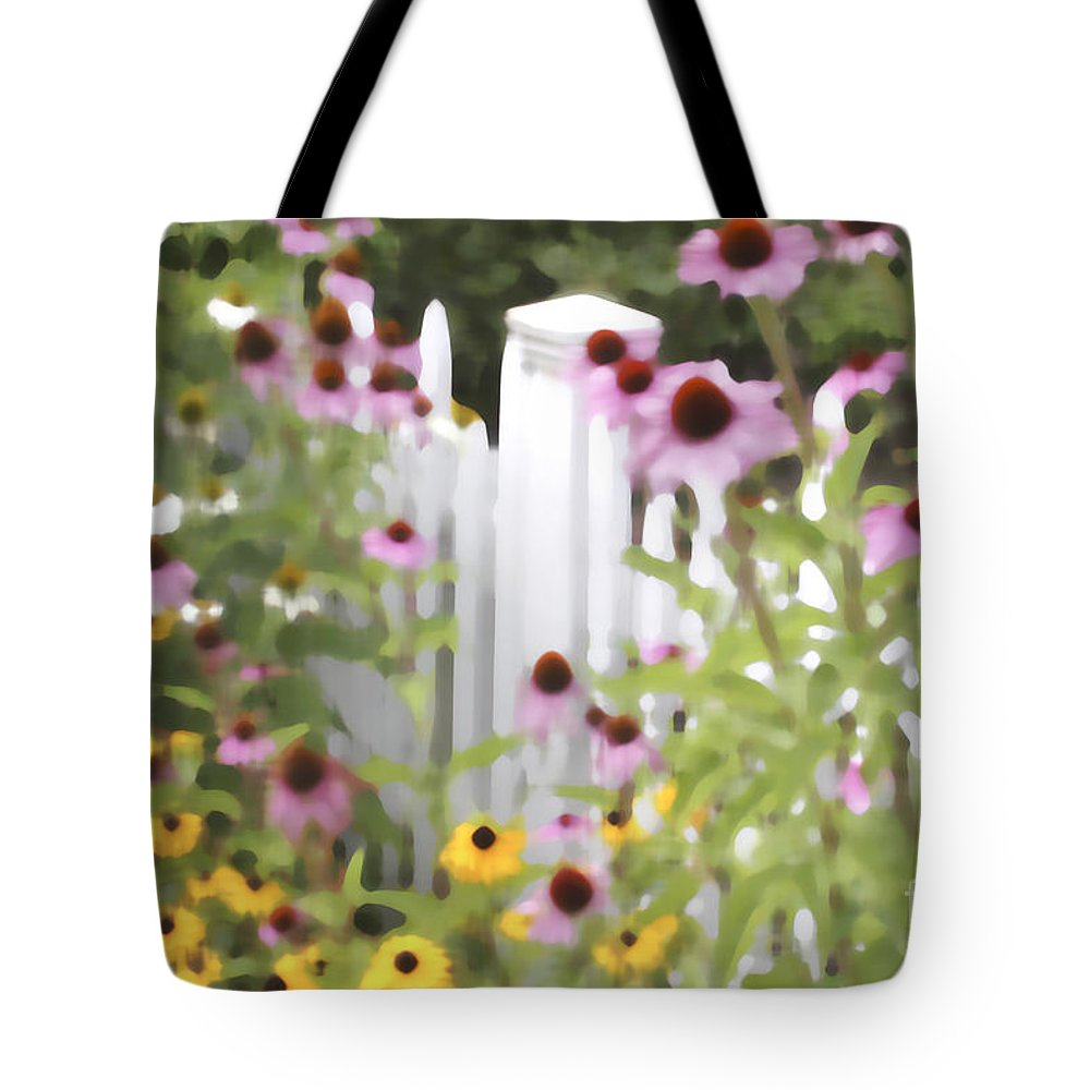 Purple Cone Flowers Tote Bag featuring the photograph Cone Flowers And Fence by James Baron