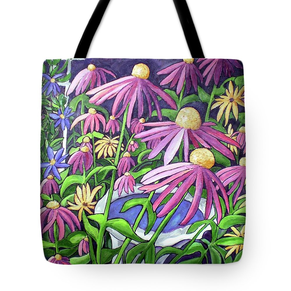 America Tote Bag featuring the painting Coneflowers In Gentle Wind by James O'Connell