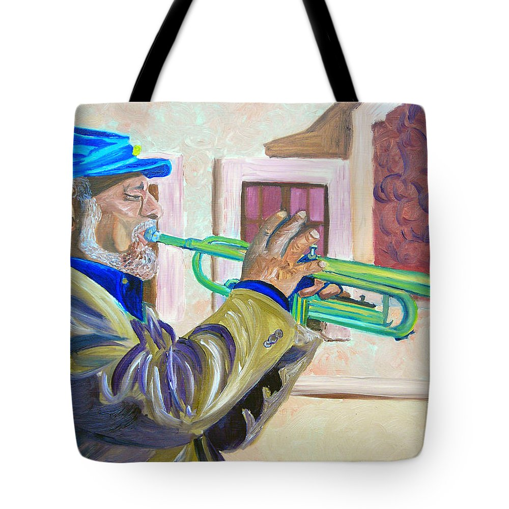 Street Musician Tote Bag featuring the painting Confederate Bugular by Michael Lee