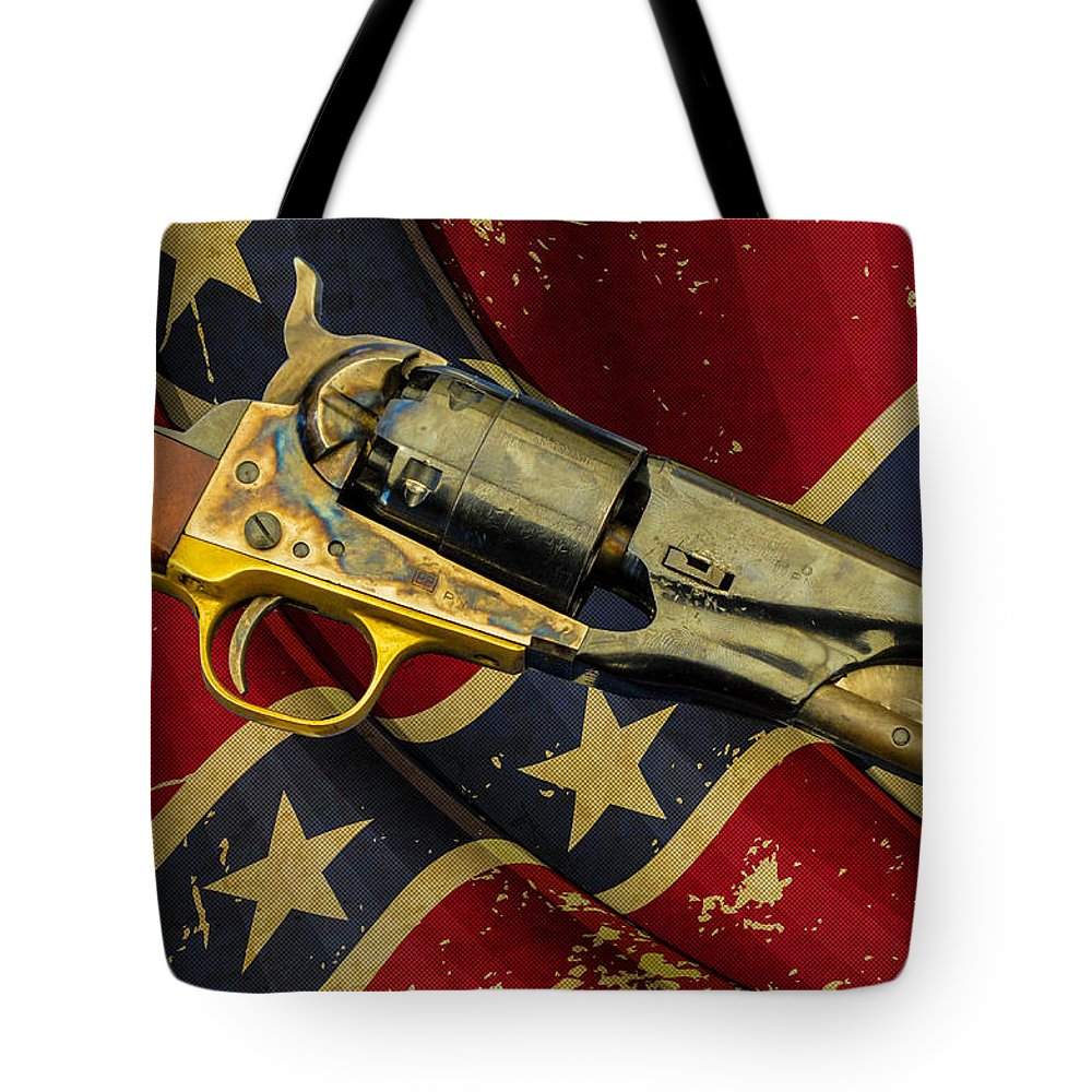1860 Colt Navy Revolver Tote Bag featuring the photograph Confederate Sidearm by Tommy Anderson