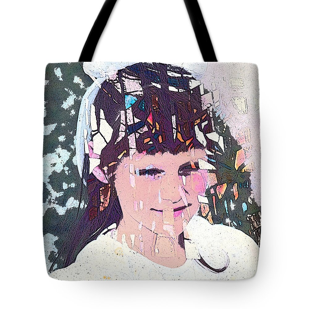 Girl Tote Bag featuring the digital art Confirmation by Arline Wagner
