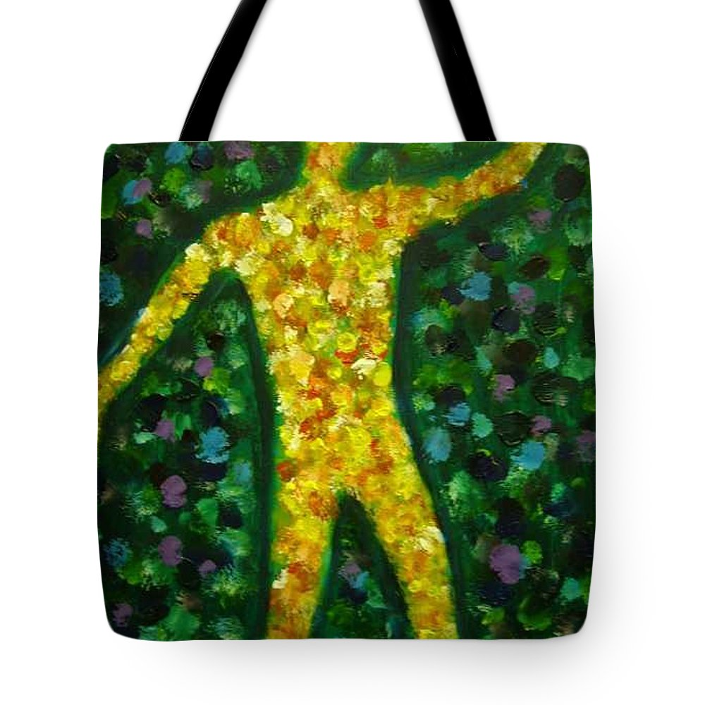 Acrylic Painting... Tote Bag featuring the painting Conflict And Contrast by Jan Gilmore