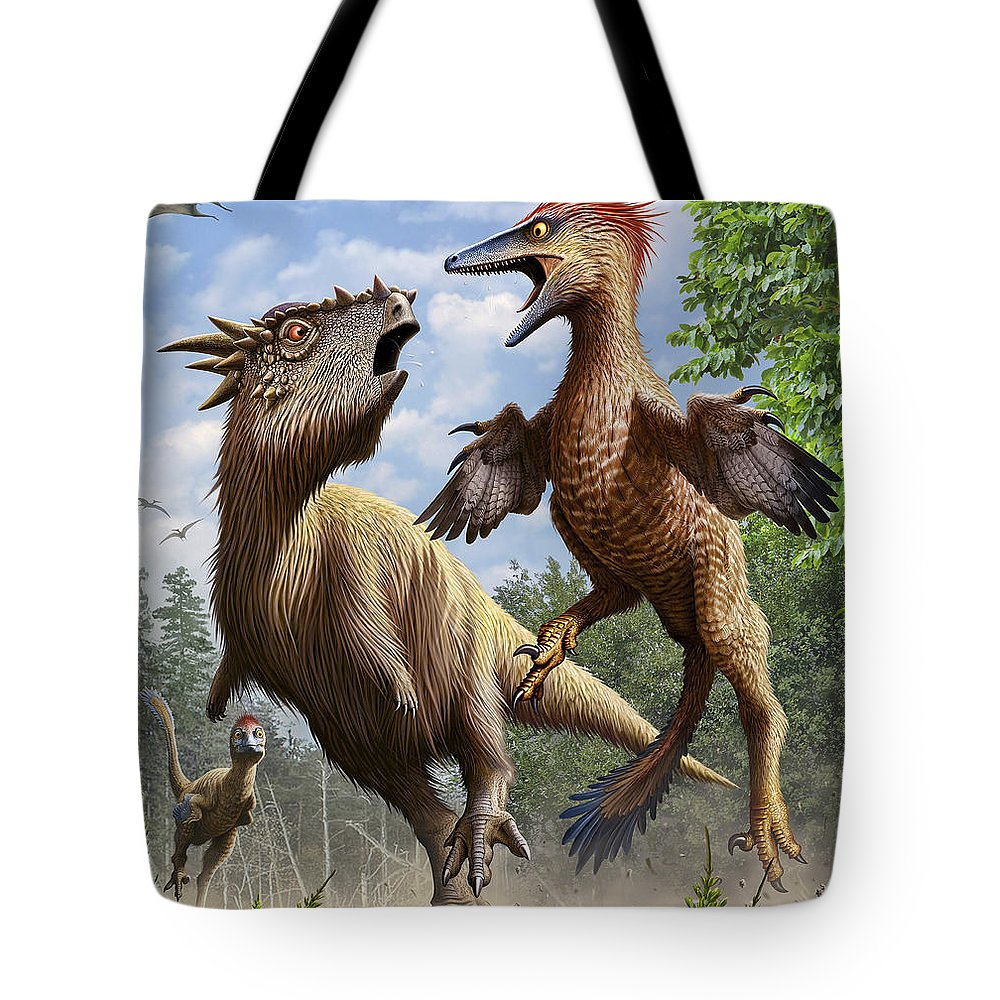 Maastrichtian Tote Bag featuring the digital art Confrontation Between Pectinodon by Mohamad Haghani