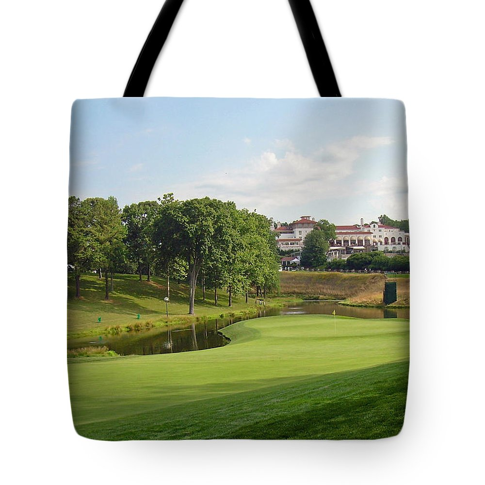 Maryland Tote Bag featuring the photograph Congressional Blue Course - The Finish - Par 4 18th by Ronald Reid