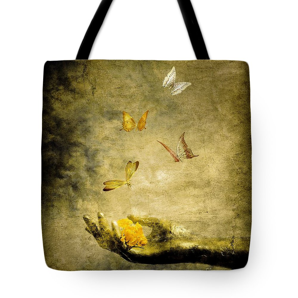 Inspirational Tote Bag featuring the painting Connect by Jacky Gerritsen