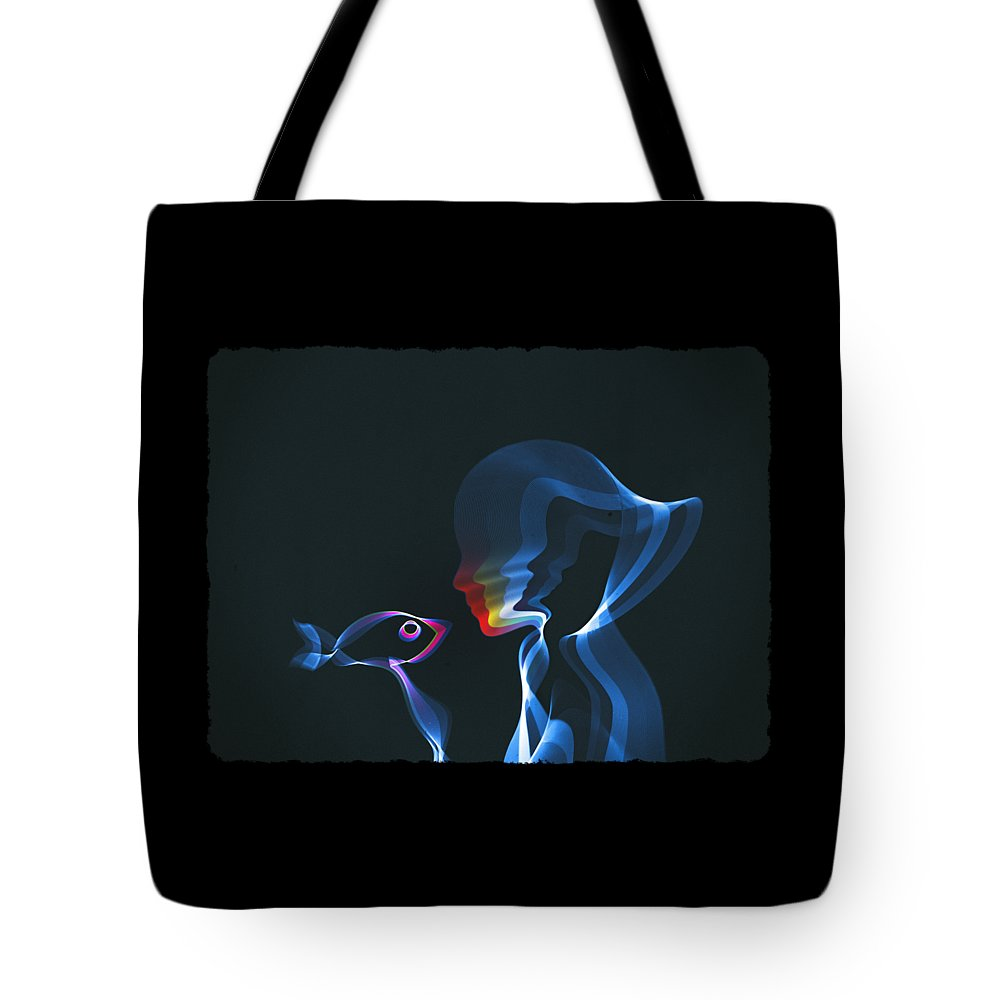 Waves Tote Bag featuring the digital art Connection by Mustafa Akgul