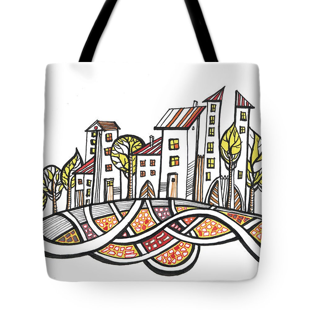 Houses Tote Bag featuring the drawing Connections by Aniko Hencz