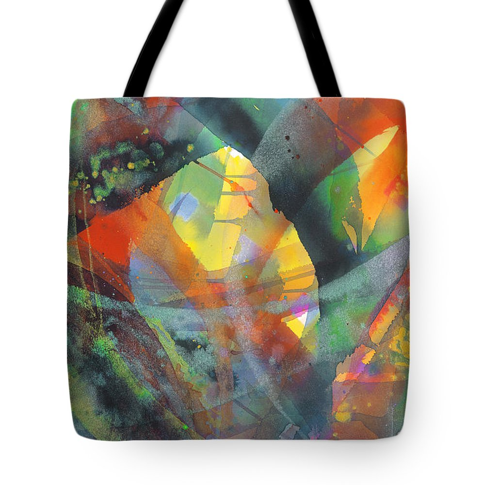 Abstract Tote Bag featuring the painting Connections by Lucy Arnold
