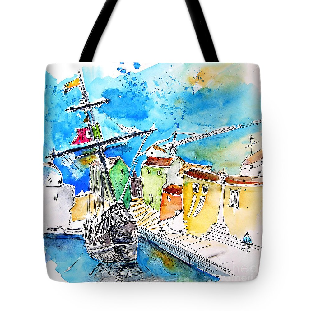 Portugal Tote Bag featuring the painting Conquistador Boat In Portugal by Miki De Goodaboom
