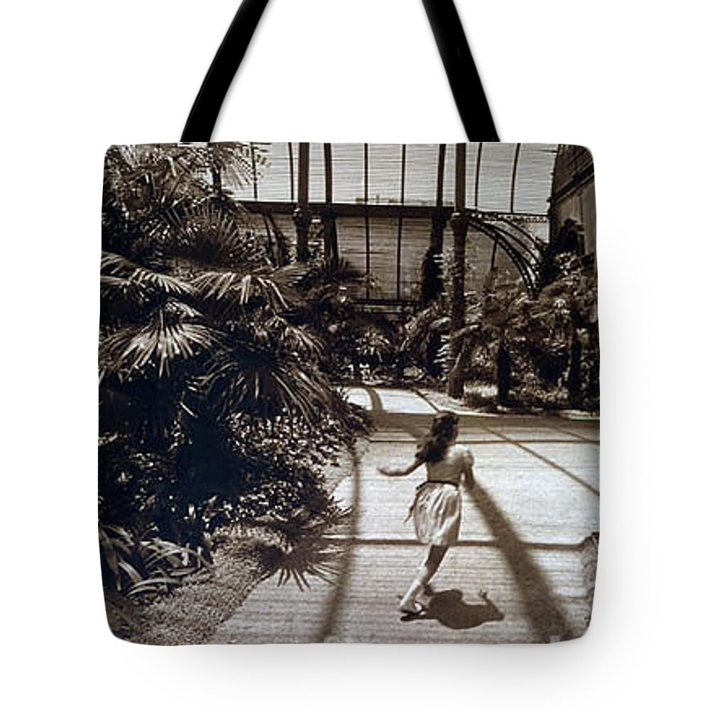 Sepia Tote Bag featuring the photograph Conservatory, Barcelona 1976 by Michael Ziegler