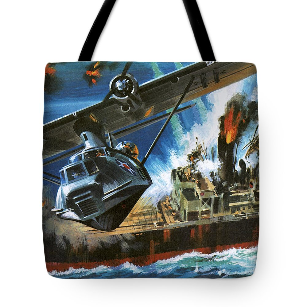 Ship Tote Bag featuring the painting Consolidated Pby Catalina by Wilf Hardy