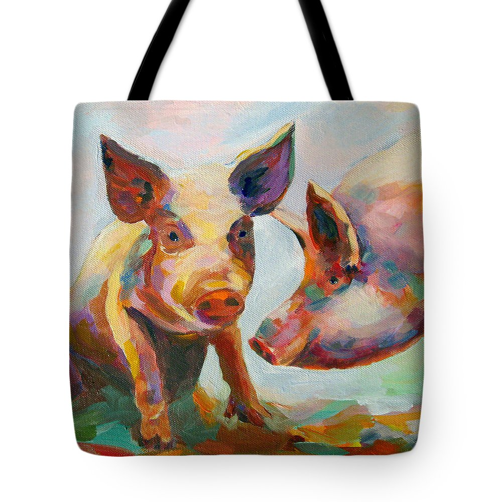 Pigs Tote Bag featuring the painting Consultation by Naomi Gerrard
