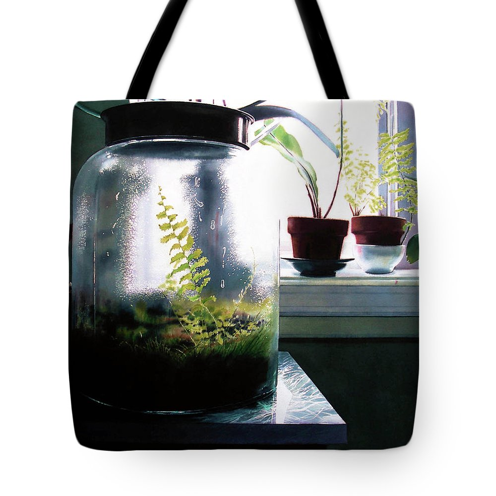 Botanical Tote Bag featuring the painting Contained by Denny Bond