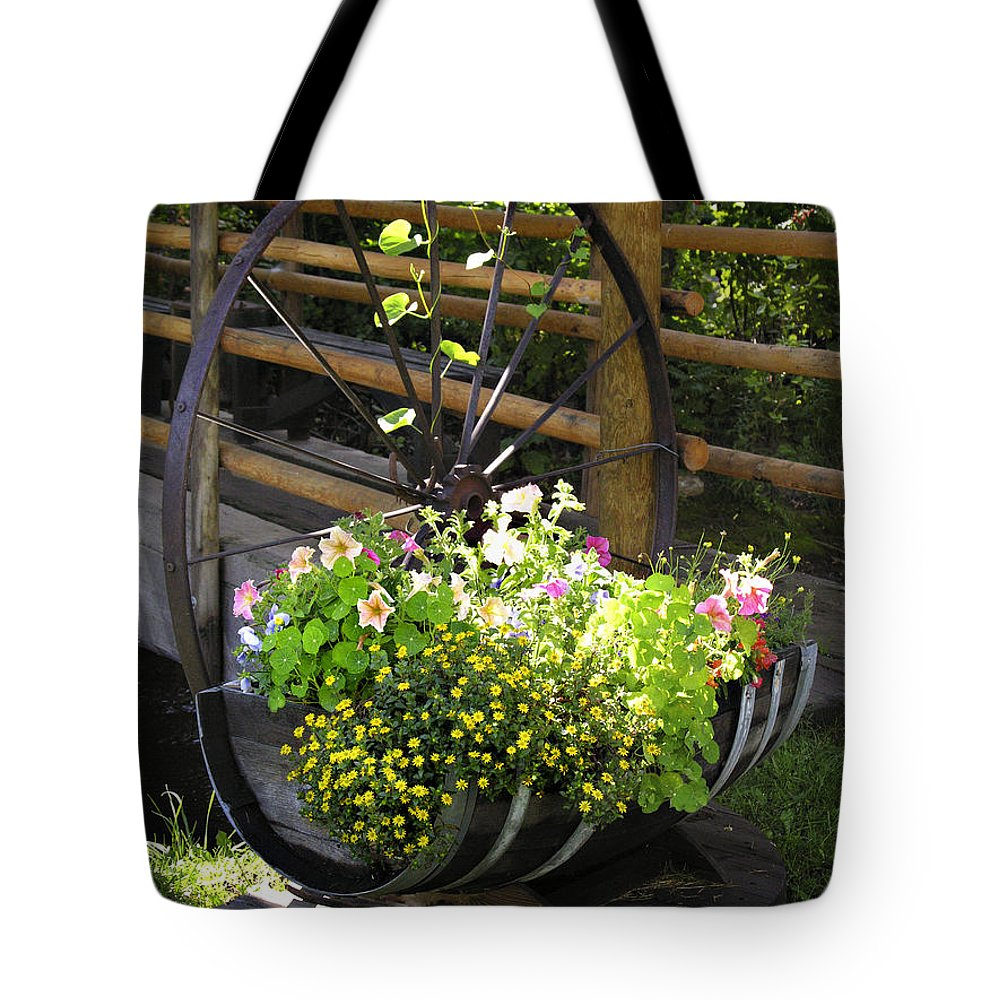 Flower Tote Bag featuring the photograph Contained Flowers by Marilyn Hunt