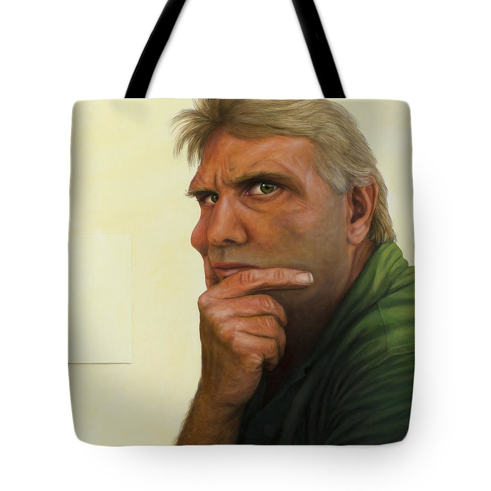 Contemplation Tote Bag featuring the painting Contemplating The Blank Page by James W Johnson