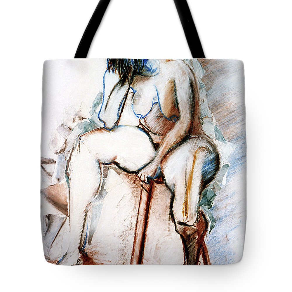 Female Tote Bag featuring the drawing Contemplation - Nude On A Stool by Kerryn Madsen-Pietsch