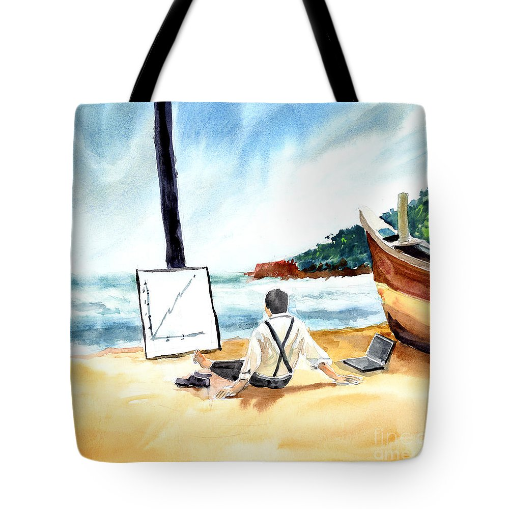 Landscape Tote Bag featuring the painting Contemplation by Anil Nene