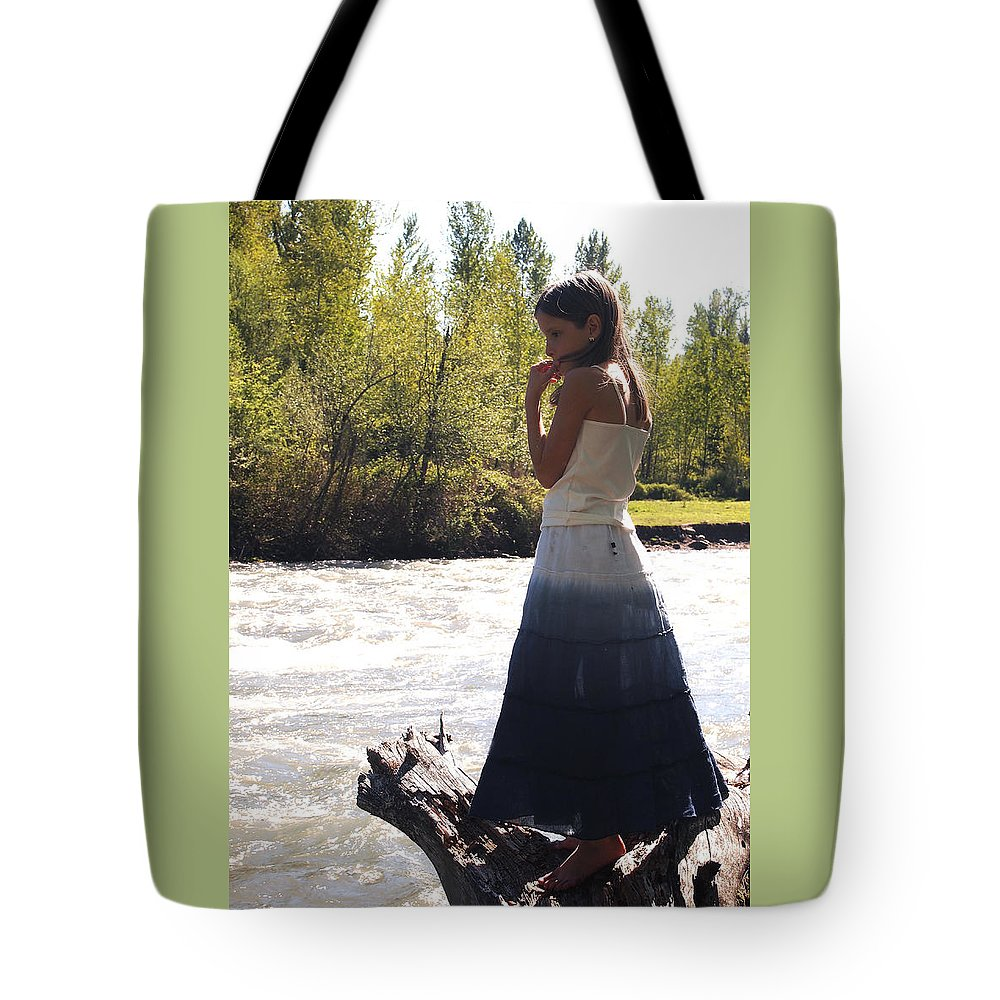 Little Girl In Skirt By The River Tote Bag featuring the photograph Contemplation by Nancy Clendaniel