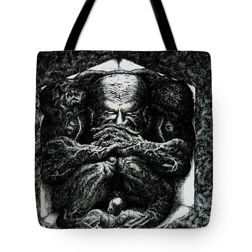 Dark Tote Bag featuring the drawing Contemplation by Tobey Anderson