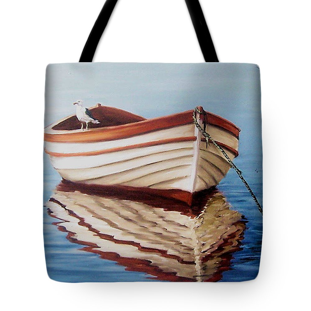 Sea Seascape Boat Reflections Water Ocean Seagull Bird Tote Bag featuring the painting Contemplative by Natalia Tejera