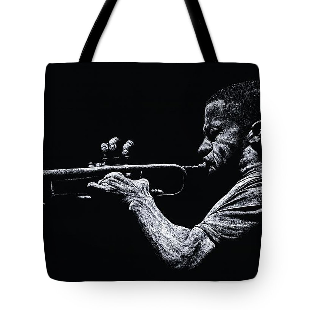 Musician Tote Bag featuring the pastel Contemporary Jazz Trumpeter by Richard Young