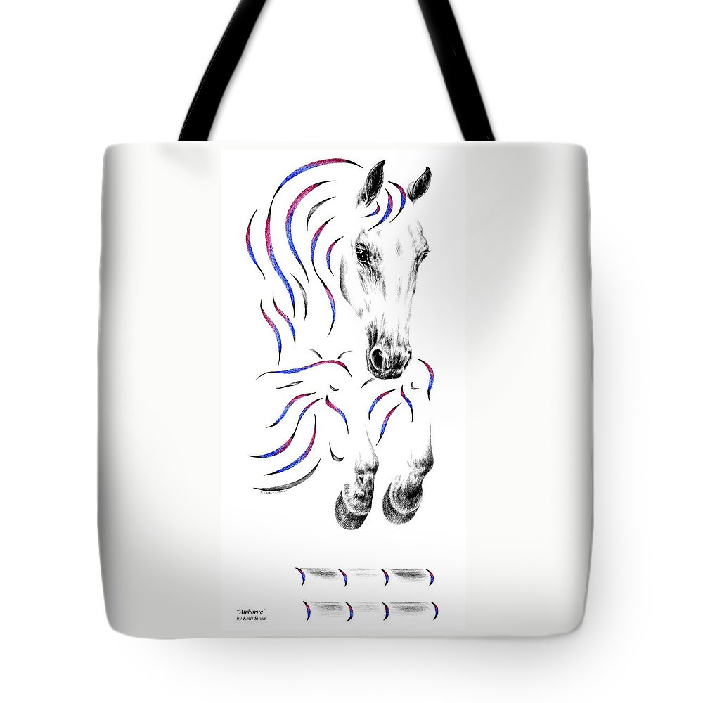 Jumper Tote Bag featuring the drawing Contemporary Jumper Horse by Kelli Swan