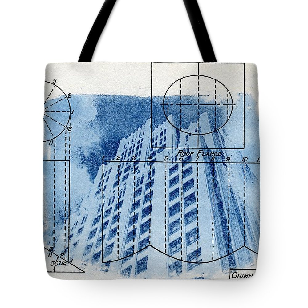 Continental life building cyanotype blueprint architecture tote bag cyanotype tote bag featuring the photograph continental life building cyanotype blueprint architecture by jane linders malvernweather Gallery