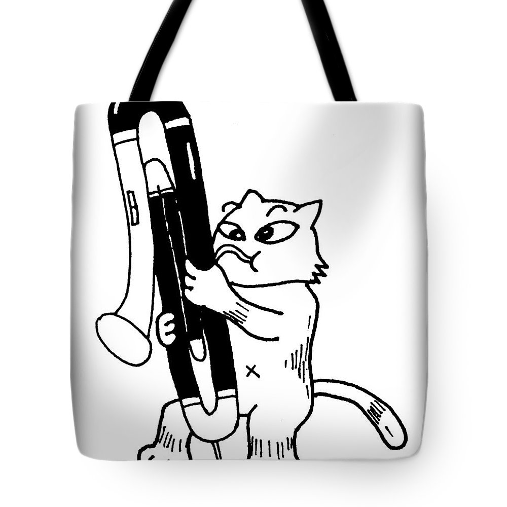 Bassoon Tote Bag featuring the drawing Contra Bassoon fox by Minami Daminami
