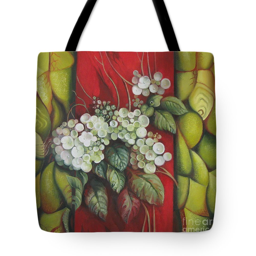 Abstract Tote Bag featuring the painting Contrast by Elena Oleniuc