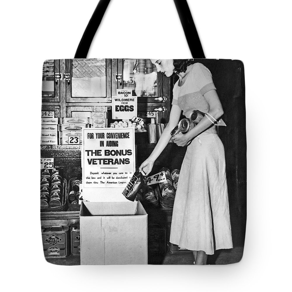 1 Person Tote Bag featuring the photograph Contributions For Bonus Army by Underwood Archives