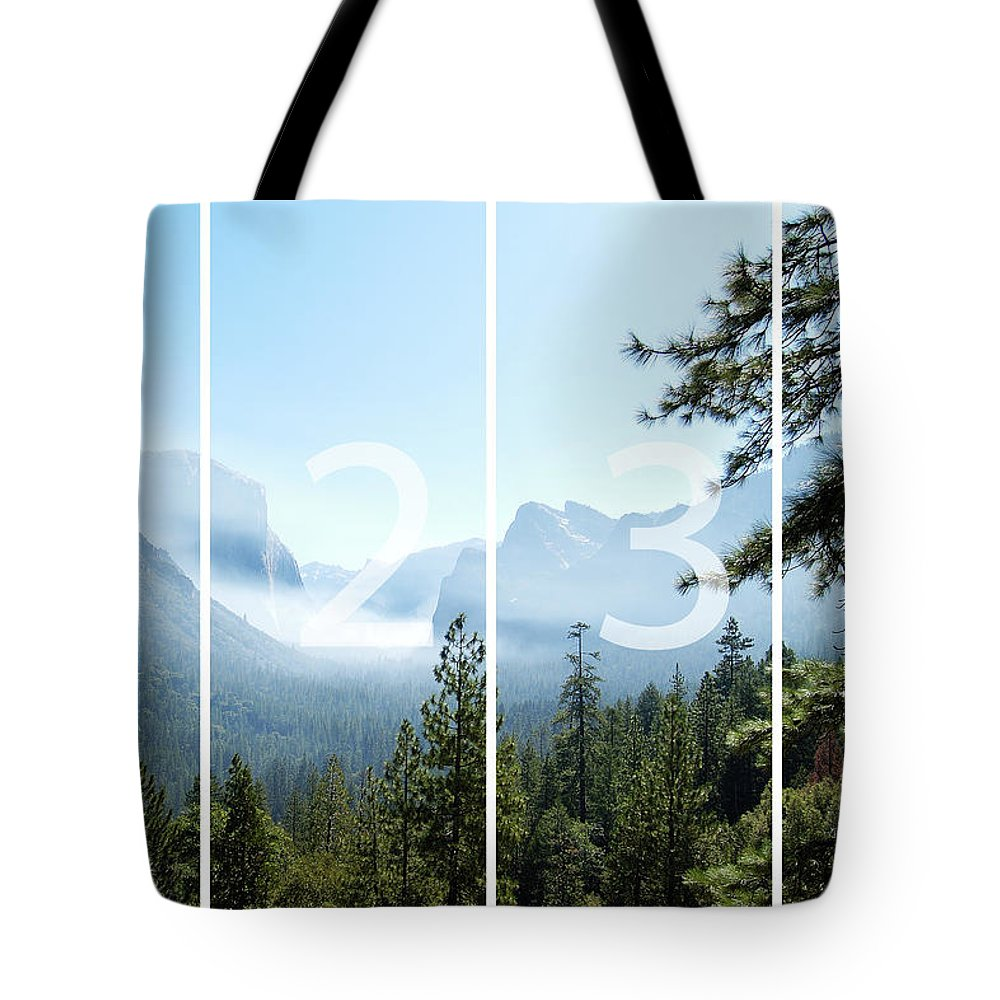 El Capitan Tote Bag featuring the digital art Controlled Burn Of Yosemite Panoramic Map by Michael Bessler