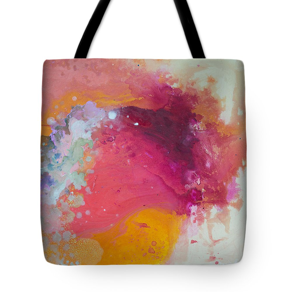 Abstract Tote Bag featuring the painting Controlled Chaos by Claire Desjardins