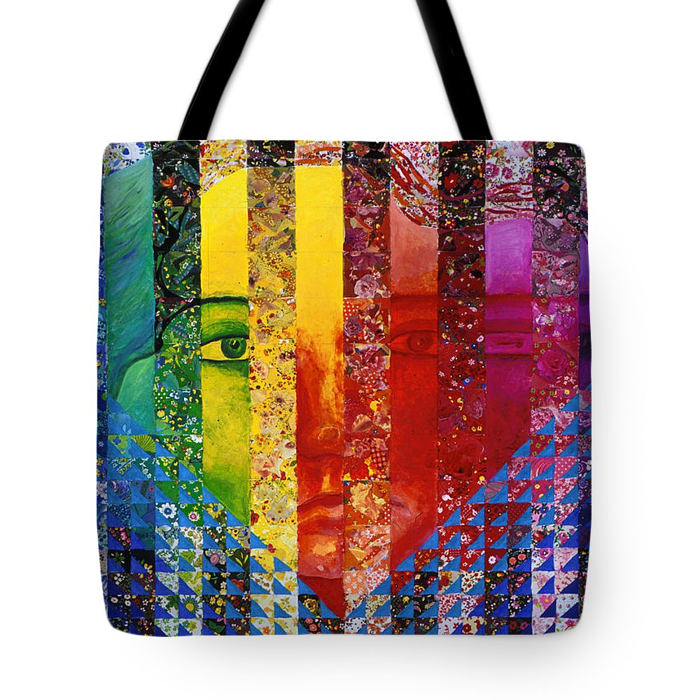 Colorful Tote Bag featuring the mixed media Conundrum I - Rainbow Woman by Diane Clancy