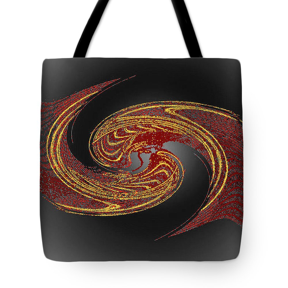 Red Tote Bag featuring the digital art Convergence In Red And Gold by Don Quackenbush
