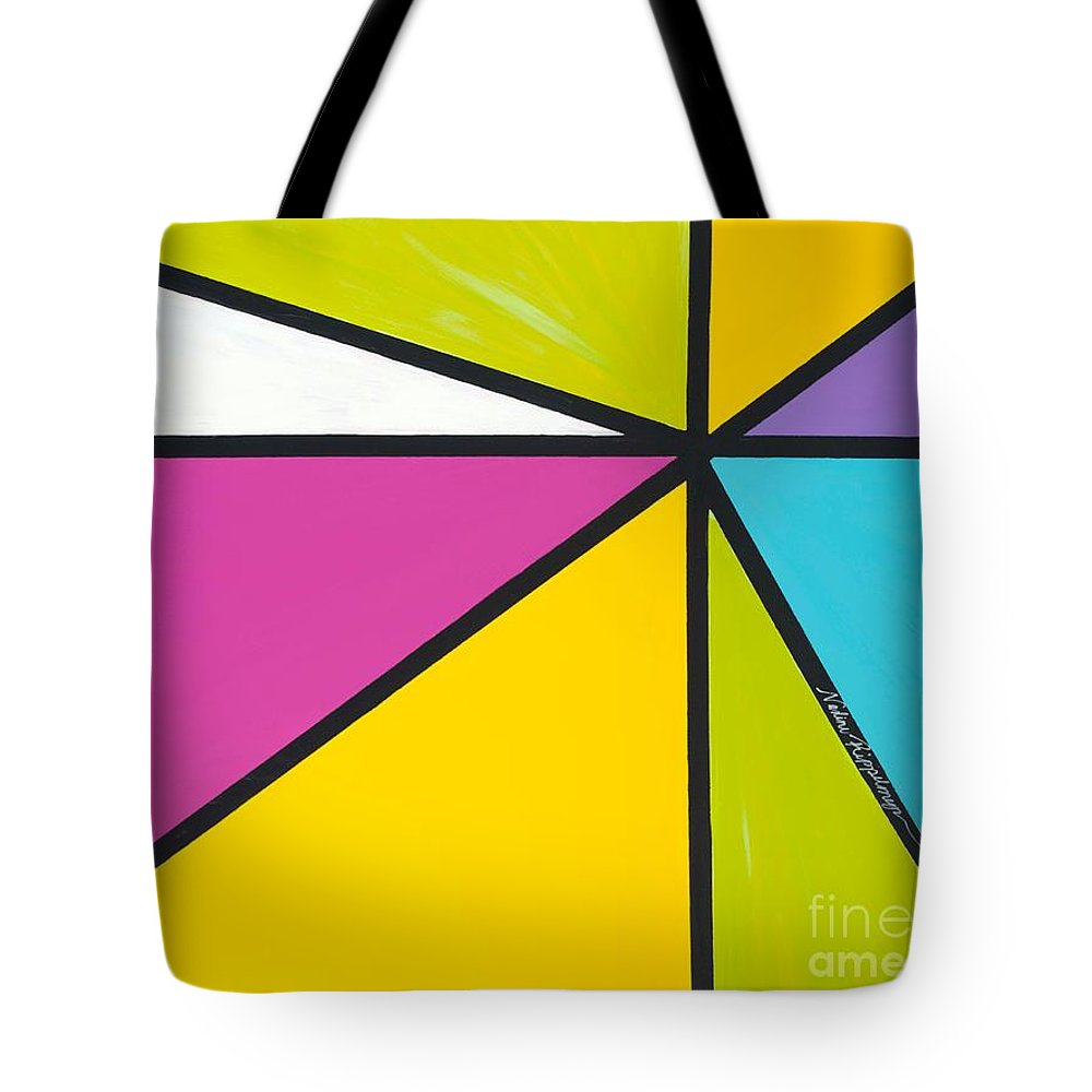 Lines Tote Bag featuring the painting Convergence by Nadine Rippelmeyer