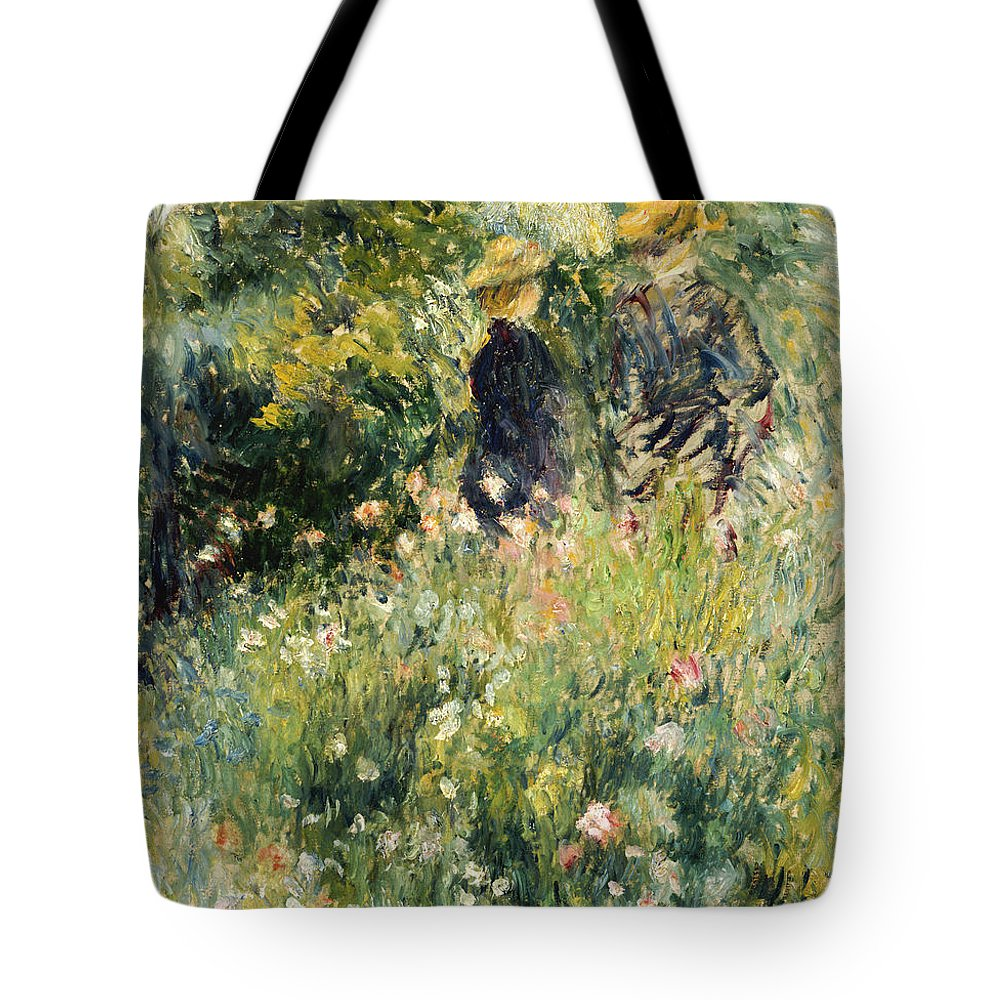 Impressionism; Impressionist; Female; Talking; Flower; Plant; Conversation In A Rose Garden Tote Bag featuring the painting Conversation In A Rose Garden by Pierre Auguste Renoir