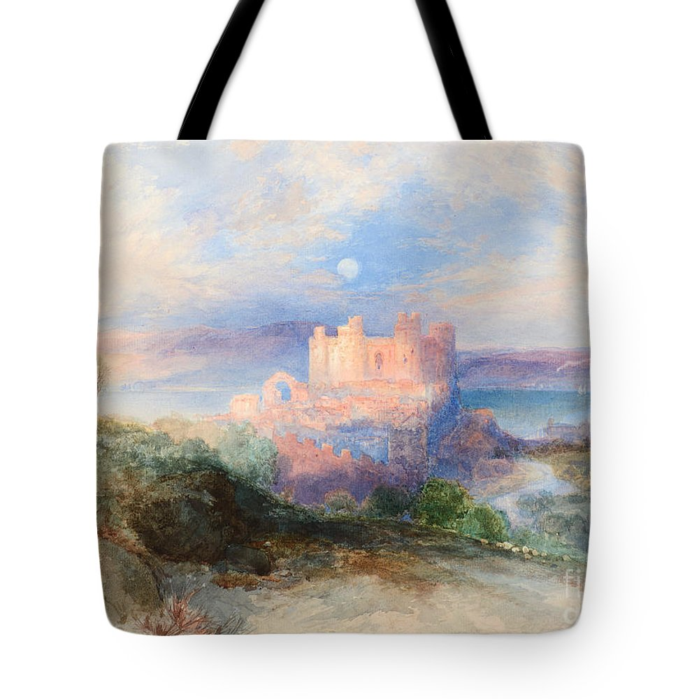 Thomas Moran (1837-1926) Conway Castle (1889). Blue Sky Tote Bag featuring the painting Conway Castle by MotionAge Designs