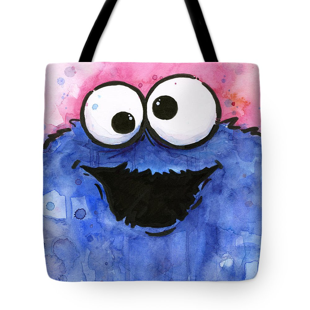 Cookie Tote Bag featuring the painting Cookie Monster by Olga Shvartsur