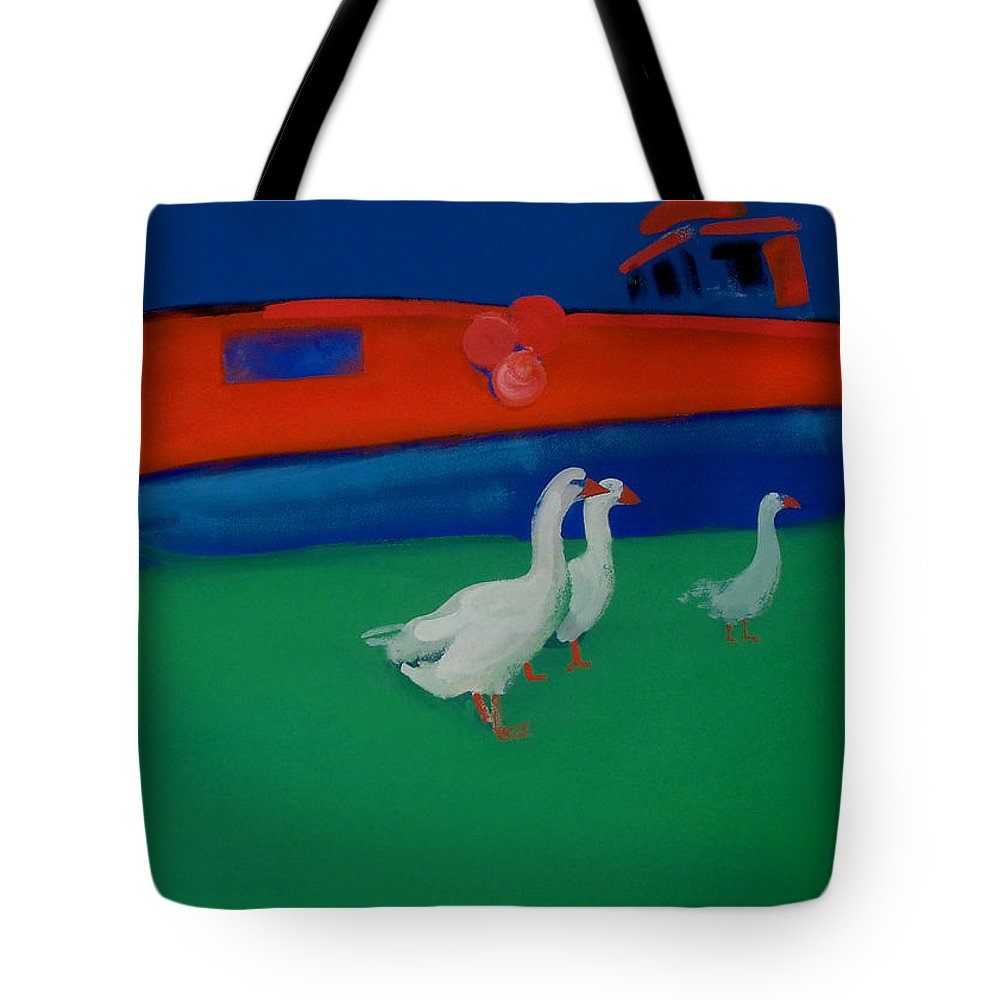 Geese Tote Bag featuring the painting Cool And Dry by Charles Stuart