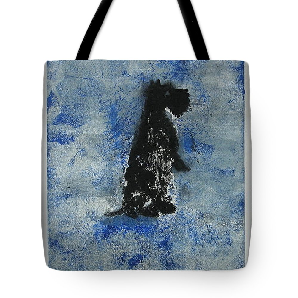 Monotype Tote Bag featuring the mixed media Cool Blue by Cori Solomon