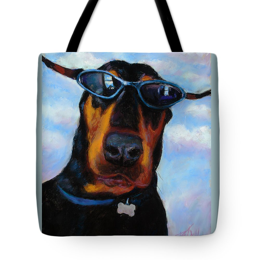 Doberman Pincher Art Tote Bag featuring the painting Cool Dob by Billie Colson
