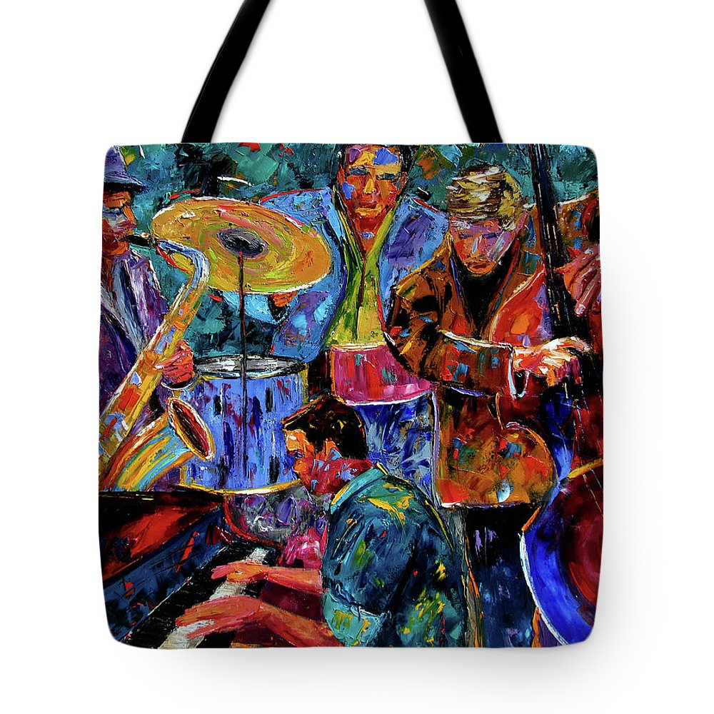 Abstract Tote Bag featuring the painting Cool Jazz by Debra Hurd