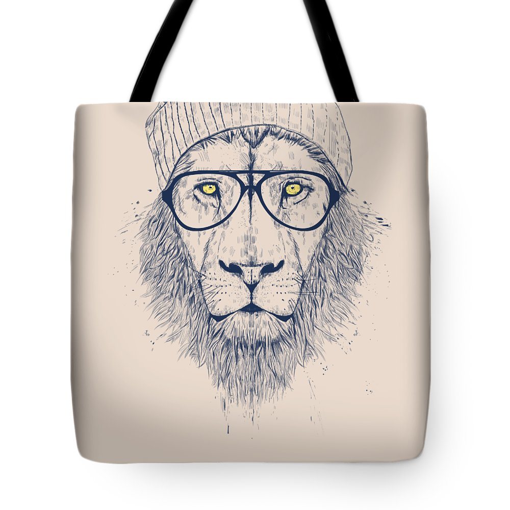 Lion Tote Bag featuring the digital art Cool Lion by Balazs Solti