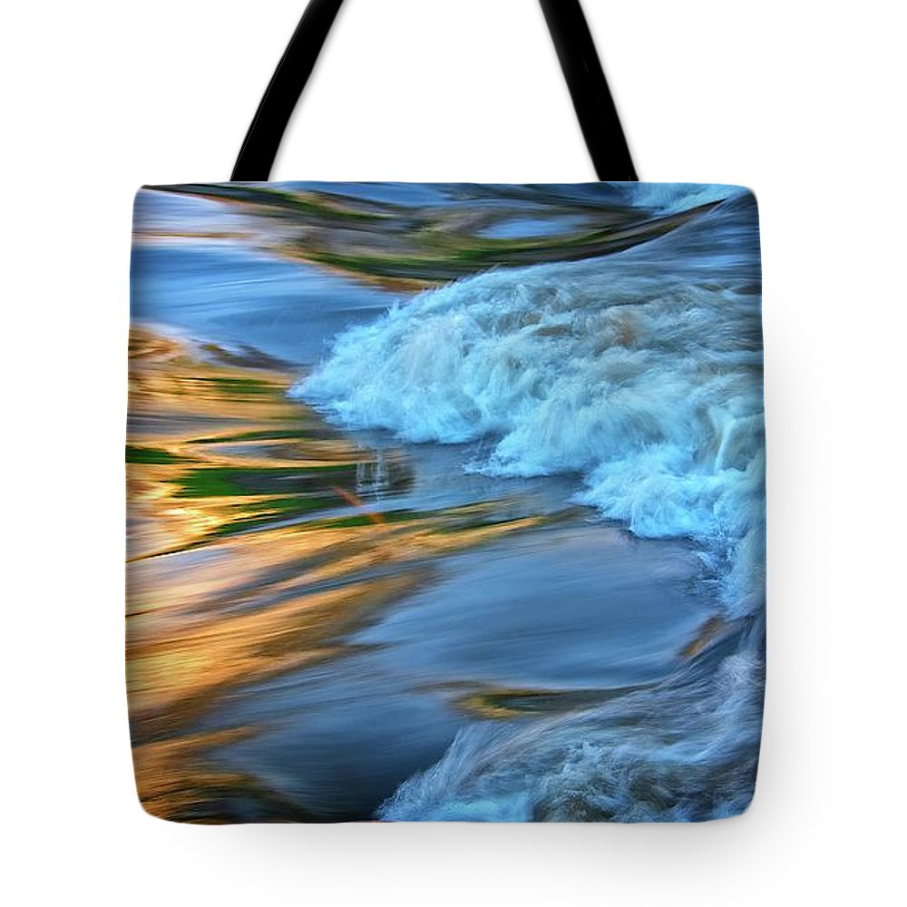 Nature Tote Bag featuring the photograph Cool Liquid Gold by Zayne Diamond Photographic