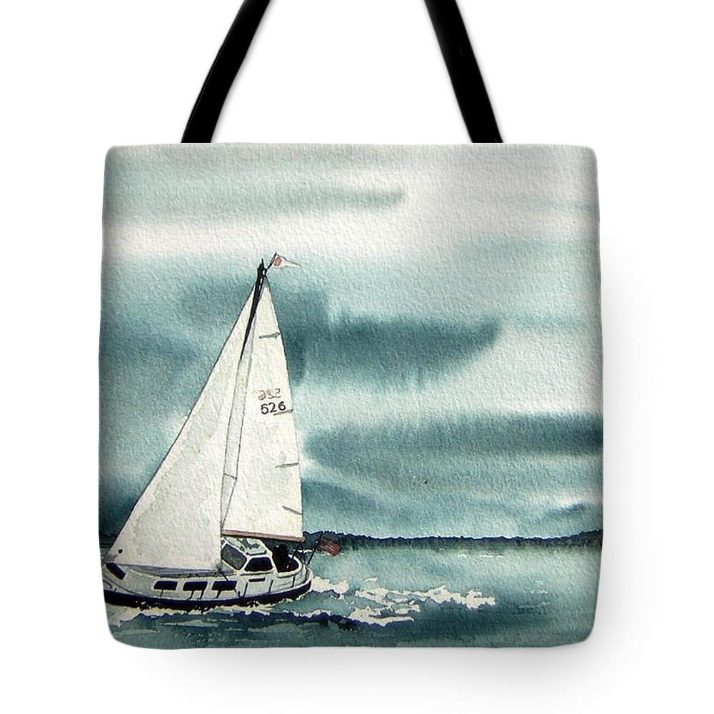 Sailing Tote Bag featuring the painting Cool Sail by Gale Cochran-Smith