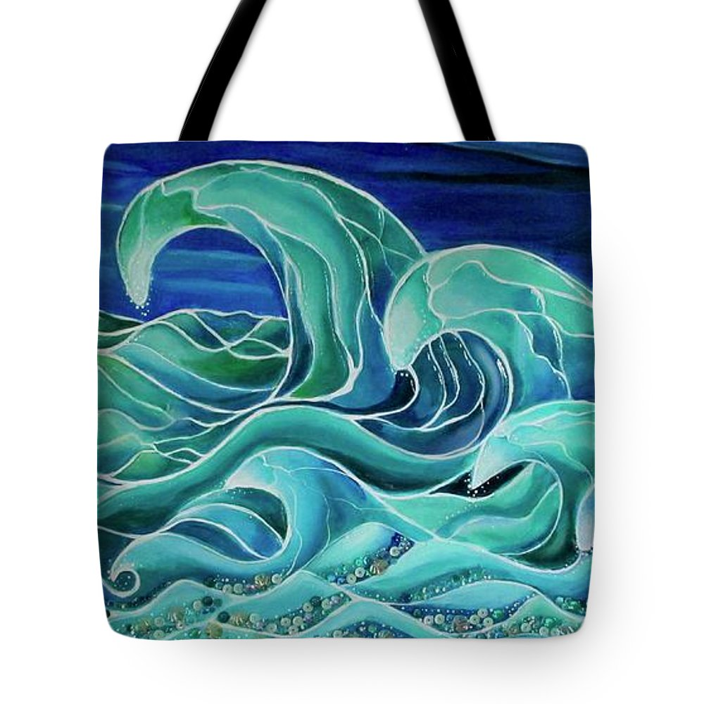 Sea Tote Bag featuring the painting Cool Waves 3- by Patricia Arroyo