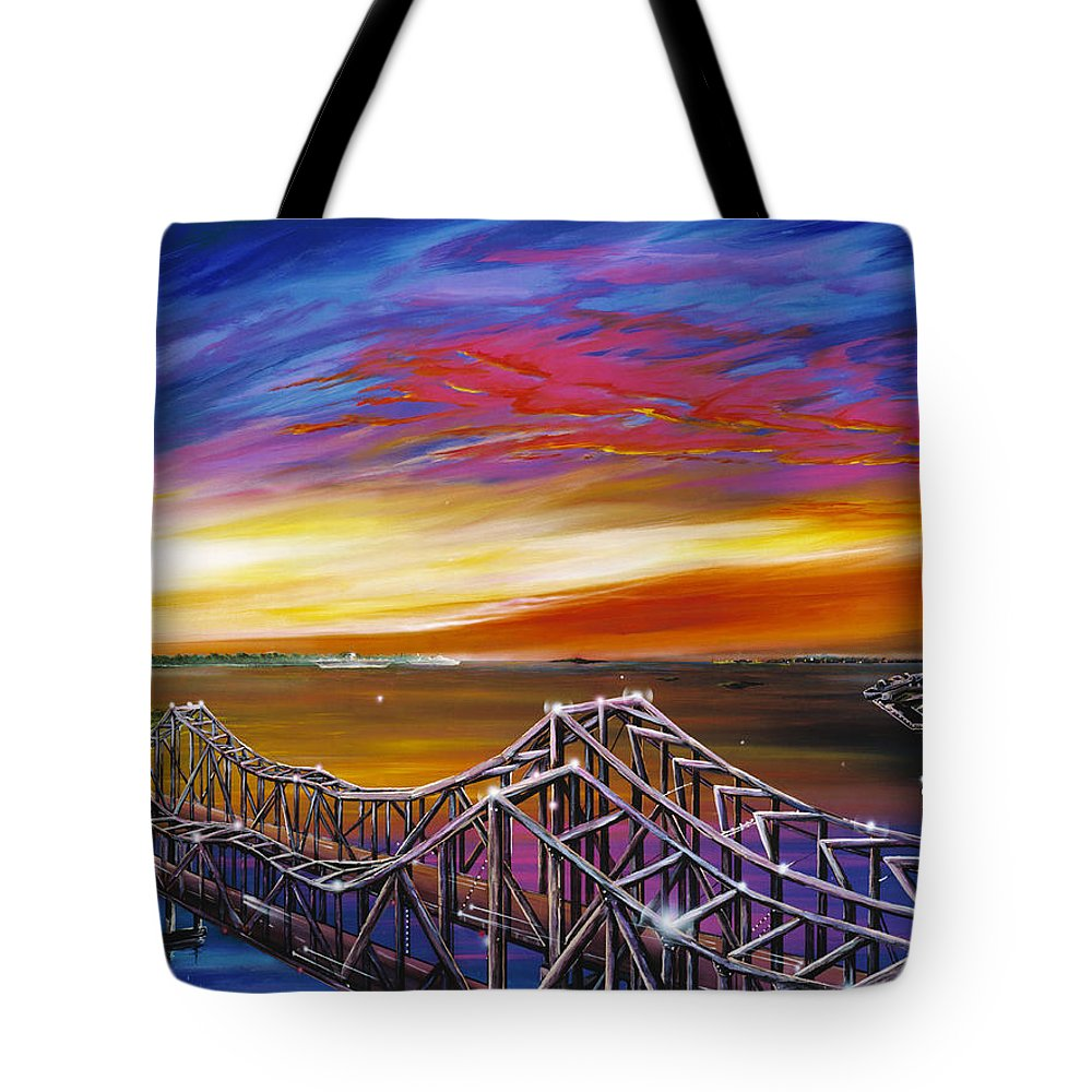 Clouds Tote Bag featuring the painting Cooper River Bridge by James Christopher Hill