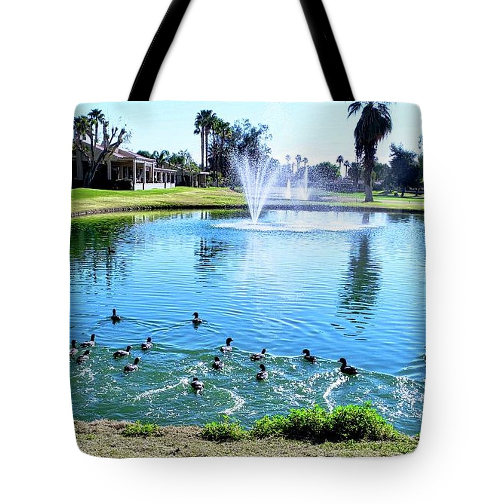 Golf Courses Tote Bag featuring the photograph Coots On The Run In A Lake by Kirsten Giving