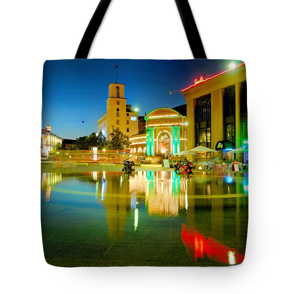 Copenhagen Tote Bag featuring the photograph Copenhagen By Night by Robert Lacy