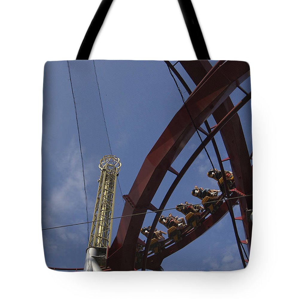 Action Tote Bag featuring the photograph Copenhagen, Denmark, Rollercoaster Ride by Keenpress